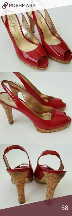 Red Patent Leather Jessica Simpson Pumps Gently used. Pre-owned pumps. Great condition. Worn only a few times. Sorry no box. Jessica Simpson Shoes Heels