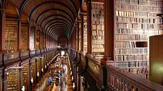 The Long Room at Trinity College's Old Library has thousands of the college's oldest and rarest books and manuscripts.