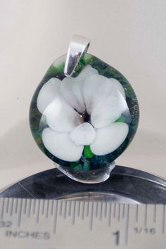Floral Lampwork Pendant Glass and Sterling by BlueSkyBeadsinc