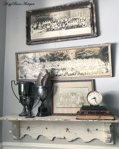 Farmhouse bathroom with Antique Panoramic pics, Chippy White shelf filled with vintage trophies, old books and a little Baby Ben clock. Gallery Wall Shelves, Happy Friday Eve, Panoramic Pictures, French Country Decorating, Antique Books, Rustic Farmhouse, Farmhouse Style, Rustic Style, Vignettes