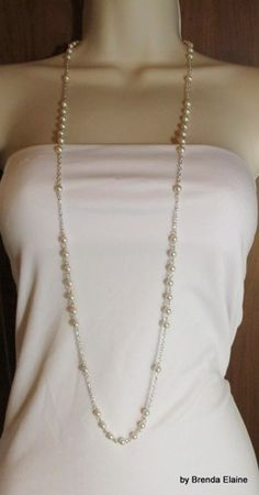 Long and Delicate Pearl Necklace in Silver | byBrendaElaine - Jewelry on ArtFire