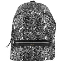 Pre-owned Saint Laurent 'hunting' Leopard-print Canvas Backpack ($860) ❤ liked on Polyvore featuring bags, backpacks, black canvas backpack, leopard print canvas backpack, canvas backpack, black canvas rucksack and black bag