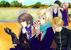 Squall Leonhart, Cloud Strife, Tidus, Snow Villiers and Lightning Farron. Fan art. Final Fantasy VIII, Final Fantasy VII, Final Fantasy X and Final Fantasy XIII.