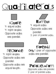 Quadrilaterals cut-out sheet! Great for putting together a