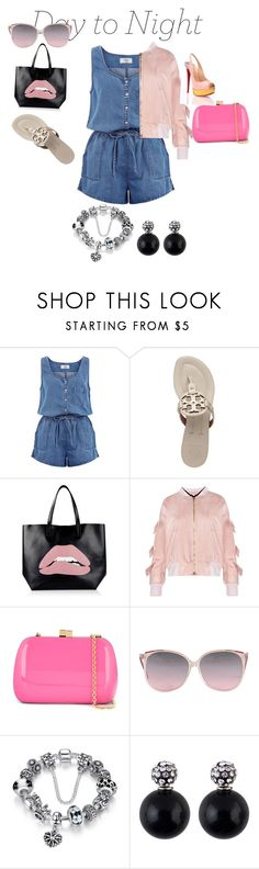 """jeansromper"" by rose-ganda ❤ liked on Polyvore featuring New Look, Tory Burch, RED Valentino, Serpui, DayToNight and romper"
