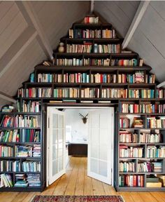 Image viaCreative Bookshelves DesignsImage viabookshelves, wood floor, grey wallsImage viaCreative Book Storage Ideas and Home Library DesignsImage viaUnexpected bo Home Library Design, House Design, Attic Library, Library Wall, Dream Library, Library Ideas, Future Library, Attic Office, Attic Design