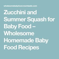Zucchini and Summer Squash for Baby Food – Wholesome Homemade Baby Food Recipes