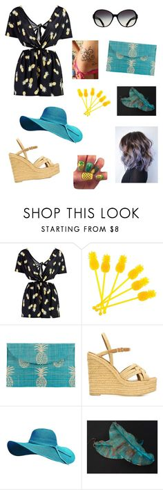 """Pineapple Festival"" by roli17 ❤ liked on Polyvore featuring Boohoo, Sunnylife, Kayu, Yves Saint Laurent, love and festival"