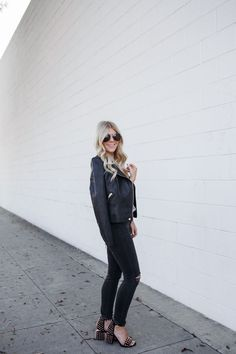 Black leather jacket for $68, Madewell denim, and Wang studded heels