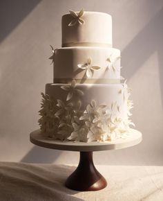 Love white and white. How feminine and romantic are these lovely flowers scattered over the cake
