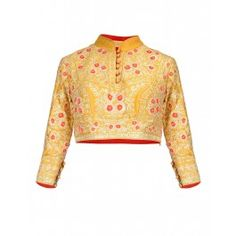 Mustard Yellow Blouse with Gota Work