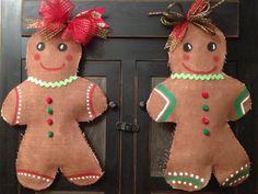 Gingerbread Man Burlap Door Hanger by SimplyAdoorable12 on Etsy