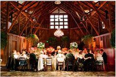 Another chandelier  greenery idea inside the barn