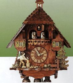 Chalet Cuckoo Clock 13 inches. h1Chalet Cuckoo Clock 13 inches_h1Chalet Cuckoo Clock. Features a three-dimensional carving of a woodchopper.d boy. Hand-carved animated dancers. Has hand-laid shingles, wooden hands, numerals, and cuckoo bird. Many addit.. . See More Cuckoo Clocks at http://www.ourgreatshop.com/Cuckoo-Clocks-C1122.aspx