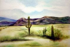 Pastel Desert Scene by Jacqueline Zuckerman