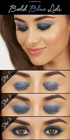 Sexy Eye Makeup Tutorials - Bold Blue Lids - Easy Guides on How To Do Smokey Looks and Look like one of the Linda Hallberg Bombshells - Sexy Looks for Brown, Blue, Hazel and Green Eyes - Dramatic Look Sexy Eye Makeup, Gold Eye Makeup, Simple Eye Makeup, Blue Eye Makeup, Eye Makeup Tips, Makeup Goals, Makeup Ideas, Hair Makeup, Dramatic Wedding Makeup