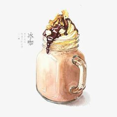 chòm sao] Time Flows In You [Editing] Dessert Illustration, Watercolor Illustration, Coffee Illustration, Desserts Drawing, Food Sketch, Watercolor Food, Watercolour, Food Cartoon, Food Painting