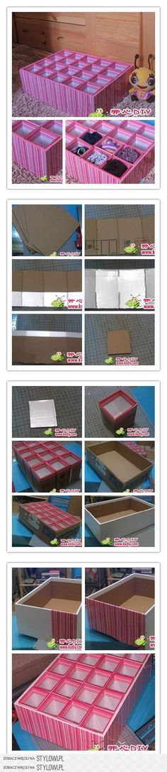 Teach you to make another on the underwear storage box from happy diy steps as shown within the box cardboard size: long W (done a bit high, better offer nearly enough) Cardboard middle (Diy Storage Boxes) Cardboard Crafts, Paper Crafts, Diy Paper, Diy Karton, Underwear Storage, Craft Storage, Diy Organization, Organizing, Decoupage