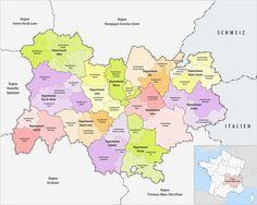 Les Arrondissements et les Départements de la Region Auverge-Rhône-Alpes, France.