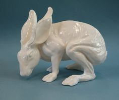 White Porcelain Crouching Rabbit Figurine by PorcelainMenagerie, $140.00