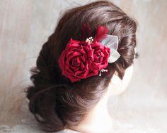 Wedding Hair Piece Feather Fascinator Red Hair by TwoCatsAndAnOwl