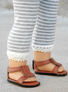 Gray/White Striped Leggings w/ Lace Trim for American Girl Dolls from Kittykat Workshop on Etsy