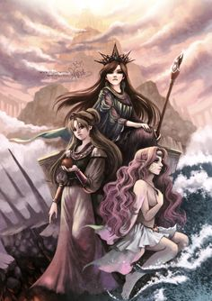 MYth: The Queens by zeldacw.deviantart.com on @deviantART [Top: Hera; Left: Persephone; Right: Amphitrite]
