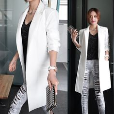 New 2018 Women Fashion OL Ong Sleeve Blazers Office Long Suit Jacket Feminino Bussiness Work E969-in Blazers from Women's Clothing & Accessories on Aliexpress.com | Alibaba Group