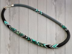 Bead Crochet Necklace Mint Graphics by Chudibeads on Etsy
