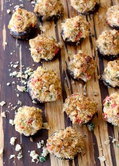 Crab, cream cheese and vegetable stuffed mushrooms with a crispy panko topping.