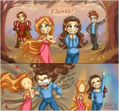 And that why Giselle isn't a princess. ;]    This time Prince Edward and Giselle (from Enchanted) vs Bella Swan and Edward Cullen (from... Twilight...!).