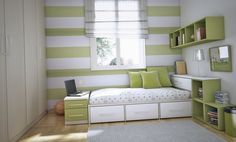 Bedroom. Sweet Cool Bedroom Ideas For Guys With Green White Striped Walls Combined Blinds Windows And Comfy Bed Organizing Drawers Also Open Shelves Featuring White Patterned Mattress Incorporates Cute Green Pillows Under Mounted Wall Book Case Also White High Closets Design. Glamorous Cool Bedroom Ideas Suitable For Guys