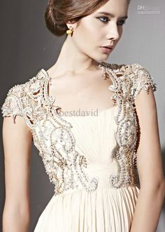 Cream Cap-Sleeve Backless Evening Dress Tube Neck Chiffon Beaded Applique Jacket Floor Length 81082