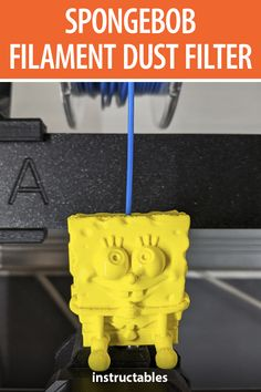 This 3D printed SpongeBob Squarepants is actually a filament dust filter to help your nozzle from getting clogged by dirty filament. #Instructables #workshop #3Dprint #tool #cleaning