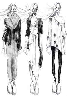 monochrome fashion illustration // Sophie MacKay