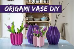 DIY Video Tutorial Origami Vasen selber falten, diy crafts, Papier