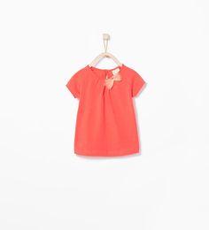 ZARA - REBAJAS - Camiseta algodón orgánico lazo