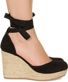 Sandália espadrille anabela preta salto corda Taquilla - Taquilla: Calçados femininos online