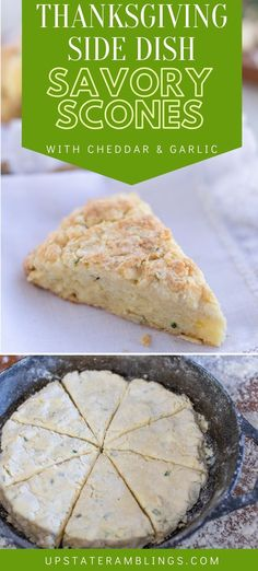 These savory scones with cheddar and garlic are a delicious addition to your next meal. Baked in a cast iron skillet they are garlicky and flaky and make an excellent addition to a breakfast, brunch or a family dinner. Make savory scones instead of biscuits tonight! Thanksgiving Food Crafts, Thanksgiving Side Dishes, Homemade Scones, Homemade Breads, How To Make Scones, Savory Scones, Iron Skillet Recipes, Quick Bread Recipes, Christmas Snacks
