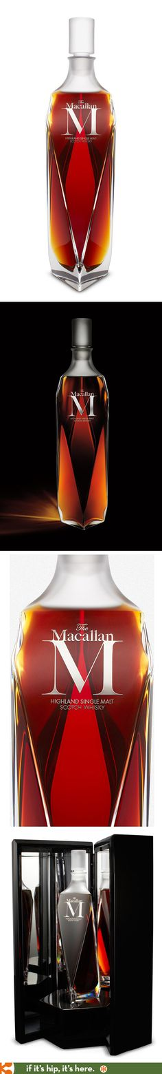 The Macallan M's contemporary faceted bottle by Lalique in a mirrored presentation box. Alcohol Bottles, Liquor Bottles, Beverage Packaging, Bottle Packaging, Lalique Perfume Bottle, Perfume Bottles, Tequila, Vodka, Expensive Whiskey