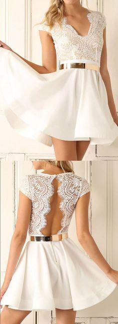 Short Prom Dresses, White Prom Dresses, Prom Dresses Short, Open Back Prom Dresses, Short White Prom Dresses, Prom Dresses White, Short Homecoming Dresses, White Homecoming Dresses, White Short Prom Dresses, White Party Dresses, Short White Dresses, Open Back Dresses, Open-back Party Dresses, Belt/Sash/Ribbon Prom Dresses, Mini Party Dresses, V-Neck Party Dresses