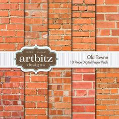 """Old Towne, 10 Piece Brick Texture Digital Scrapbook Paper Pack, 12""""x12"""", 300 dpi .jpg. $4.00, via Etsy. I'll be buying this to use for our fireplaces!"""