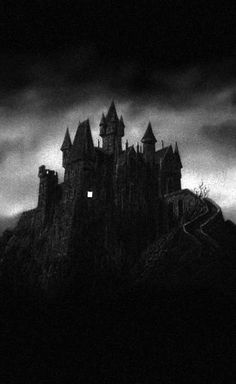 z- Castle w Lighted Room- 'Young Frankenstein', 1974 Spooky Places, Haunted Places, Dark Gothic, Gothic Art, Art Zombie, Dark Castle, Slytherin Aesthetic, Château Fort, Nocturne