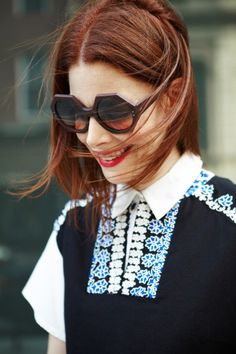 SUNO Street Style Spring 2014 Fashion Week: Christene Barberich, editor-in-chief of Refinery 29 in SUNO fall 2013 embroidered boxy top http://www.sunony.com/shop/rtw/top/embroidered-boxy-tank