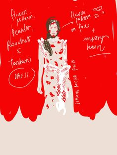 Match your make up with the dress / Simone Rocha f/w 2015 runway / Fashion & Beauty Illustration by Open Toe www.opentoeillustration.com