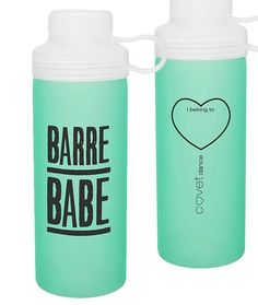 Dancers and barre fitness fans alike will love this glass water bottle. The aquamarine-colored silicone sleeve helps prevent breakage and makes it easy to hold