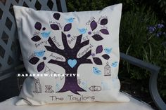 Family Tree Cushion. I make to order at https://www.facebook.com/Babas.Sew.Creative