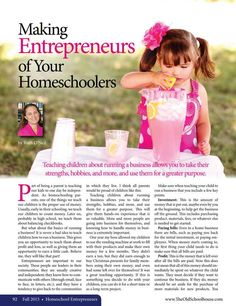 Making Entrepreneurs of Your Homeschoolers—Ruth O'Neil - The Old Schoolhouse Magazine - Fall 2015 - Page 92-93