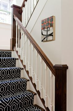 stairs with patterned carpet