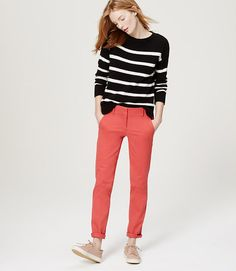 Tall Cropped Skinny Chinos in Marisa Fit-- Diggin the Coral